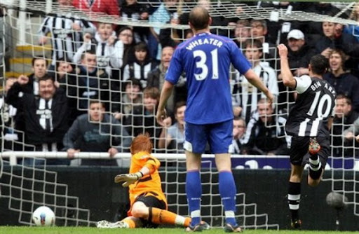 Newcastle player Hatem Ben Arfa scores against Bolton with a superb solo strike