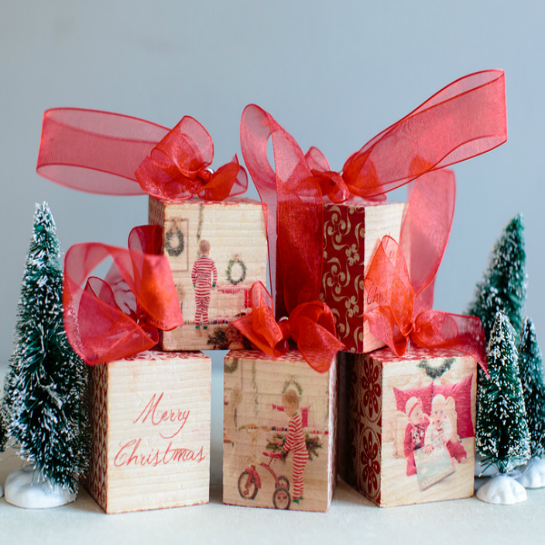Photoboard cubes make great ornaments and gifts featured on Walking on Sunshine.