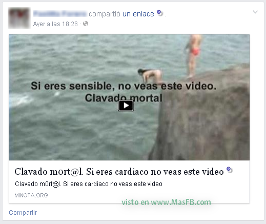 Video Clavado Mortal MasFB