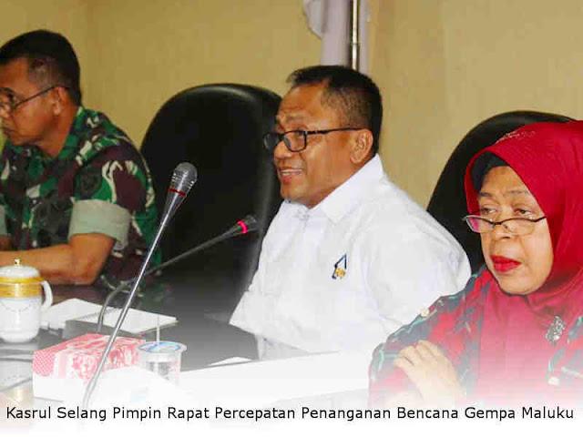 Kasrul Selang Pimpin Rapat Percepatan Penanganan Bencana Gempa Maluku