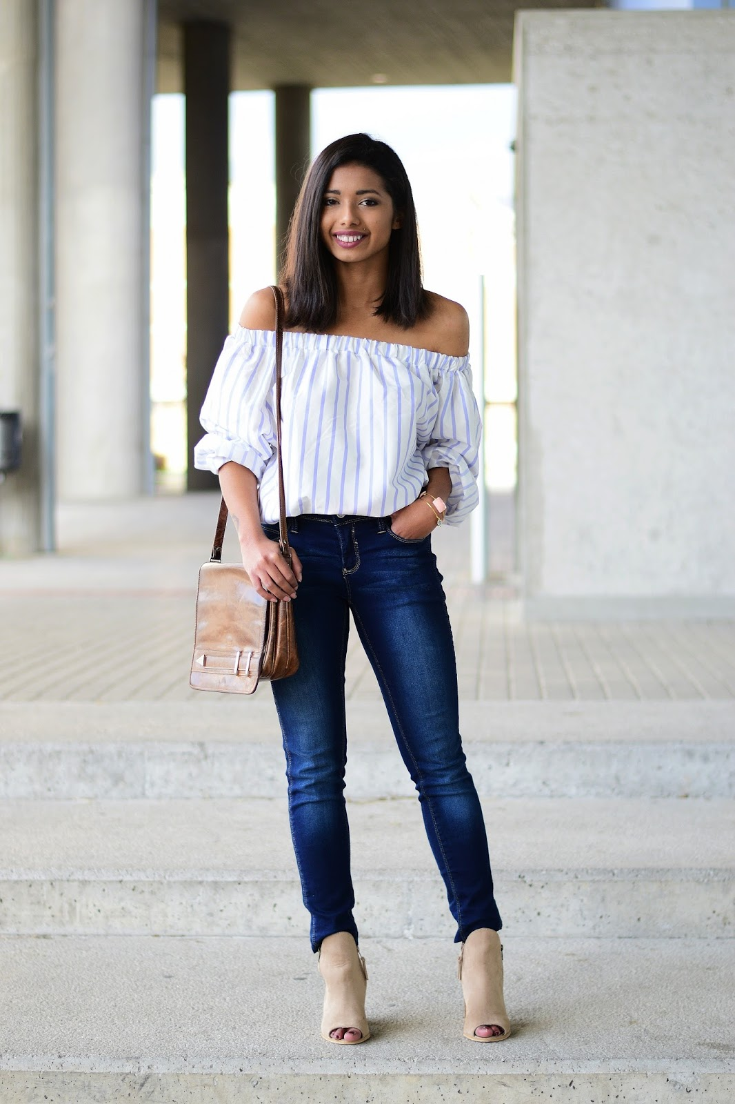 off-shoulder top and jeans outfit