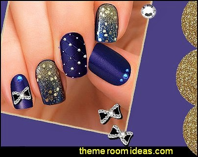 glitter nails - black and gold nails - sparkle nails - rhinestone decorations