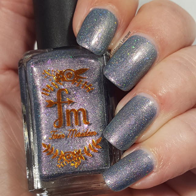 blue/violet multichrome nail polish with holo sparkle and chameleon flakes