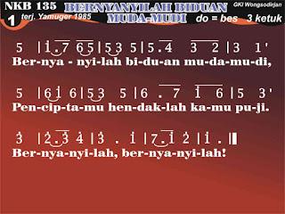 Lirik dan Not NKB 135 Bernyanyilah, Biduan Muda-mudi