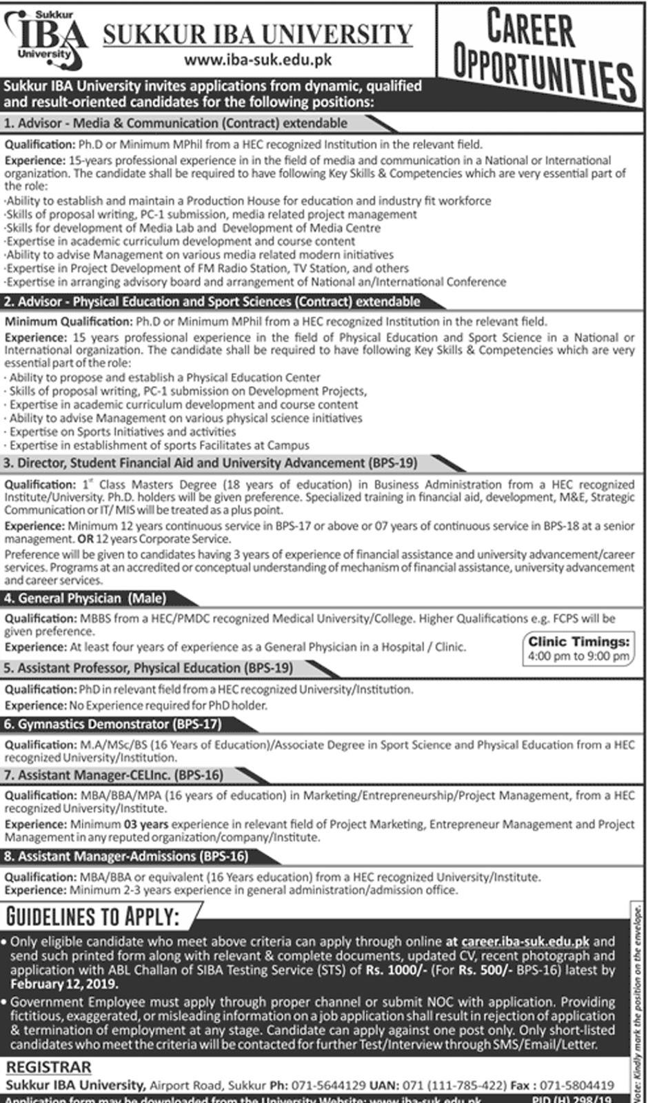 Jobs Vacancies In Sukkur IBA University 27 January 2019