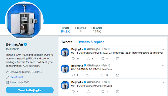 BeijingAir Twitter account page for air quality reporting