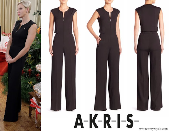 Princess Charlene wore Akris Stretch Silk Jumpsuit