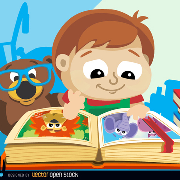 CUTE LITTLE BOY WITH BOOK FREE VECTOR