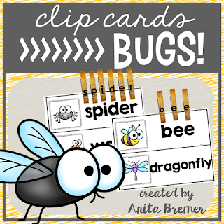 FREE Bug Clip Cards: These clip cards are a fun, tactile, hands-on way for students to practice letter matching and vocabulary words! #kindergarten #literacy #bugs #centers