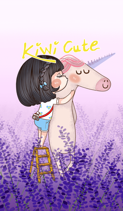 Kiwi Cute & Unicorn in Lavender