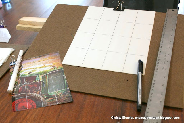 sketching in preparation for a watercolor painting, using grids for sketching