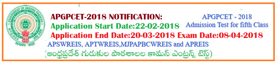 AP GPCET 2018(APGPCET 2018) Admissions Into 5th Class |  Eligibility,Online Application,Fee Details,Age Limit,Education Qualifications
