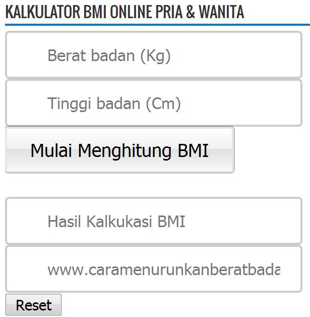 Kalkulator BMI Online Pria & Wanita