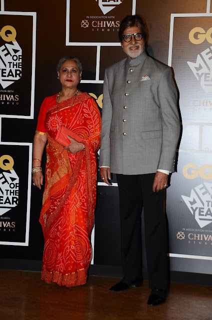 Amitabh Bachchan, winner of The GQ Legend Award with Jaya Bachchan at GQ Men of the Year Awards 2016