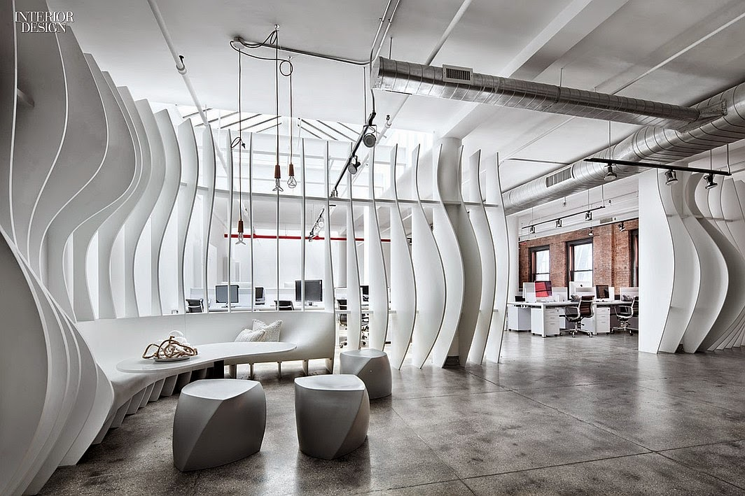 Livin 39 spaces subtle curves new york office interior - Interior design office space ...