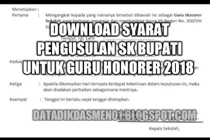 Download Syarat Pengusulan SK Bupati Untuk Guru Honorer Tahun 2018/2019