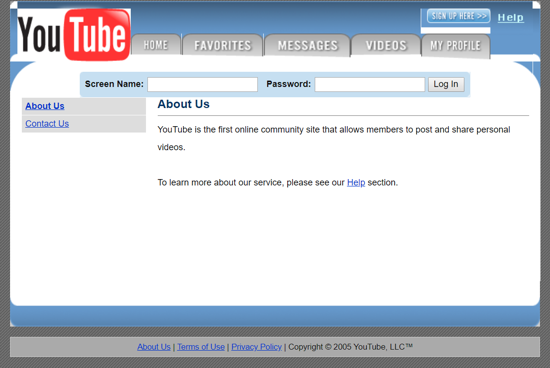 Youtube about page April 2005