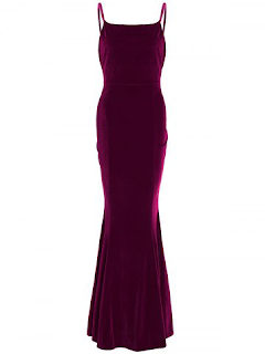 Velvet Maxi Mermaid Party Formal Slip Dress - Wine Red