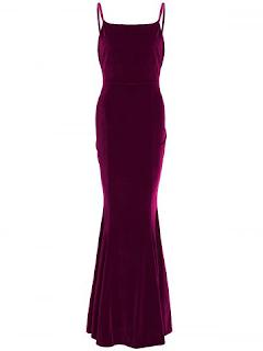 Velvet Maxi Mermaid Party Formal Slip Dress - Wine Red
