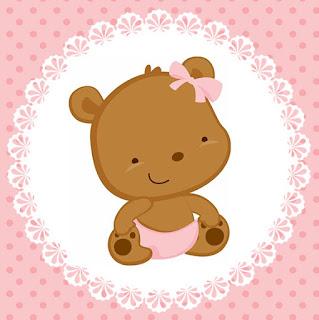 Etiquetas para Imprimir Gratis de Osita Bebé en Rosa con Lunares.