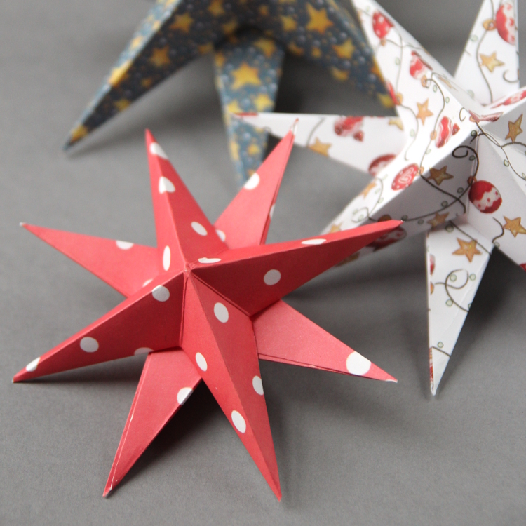 Diy 3d paper star christmas decorations gathering beauty for Paper decorations diy