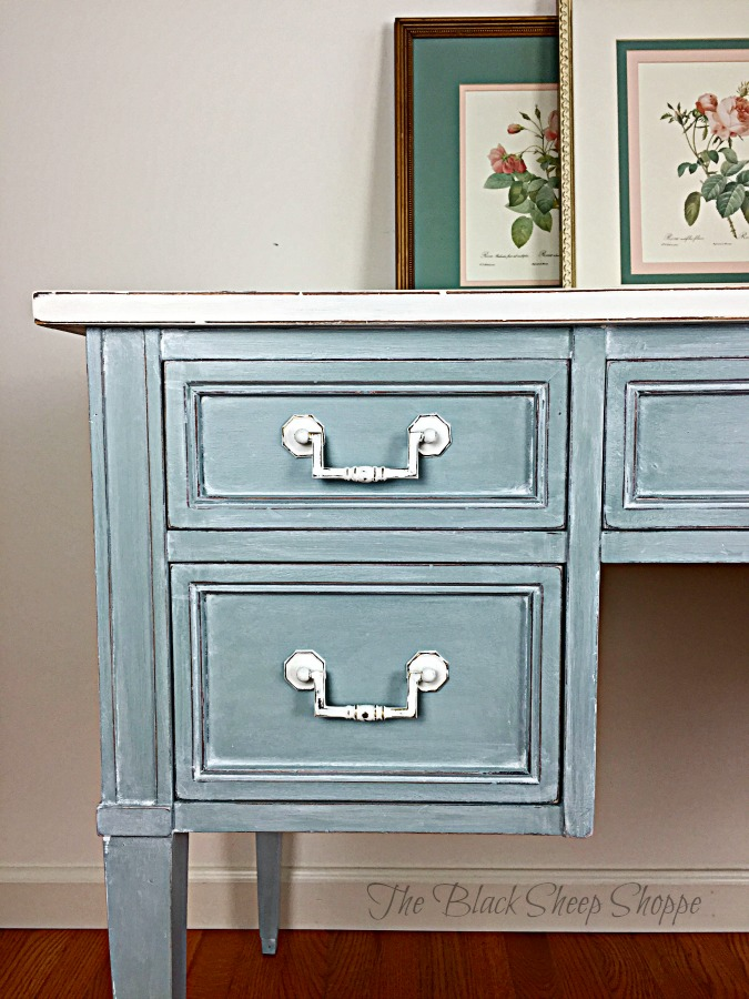 Duck egg blue with accents in Pure White chalk paint.