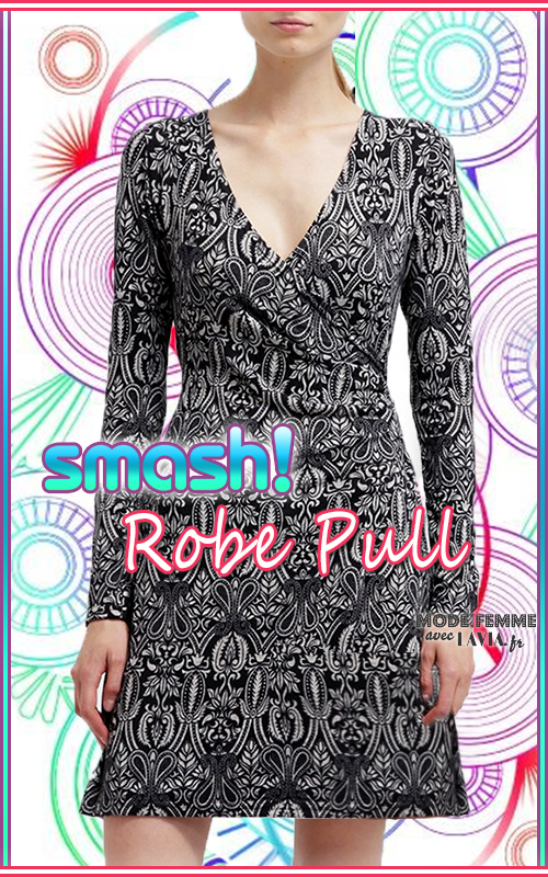 Robe pull noire et blanche imprimée Smash