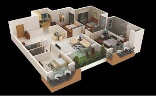 plan lantai rumah 4 bilik