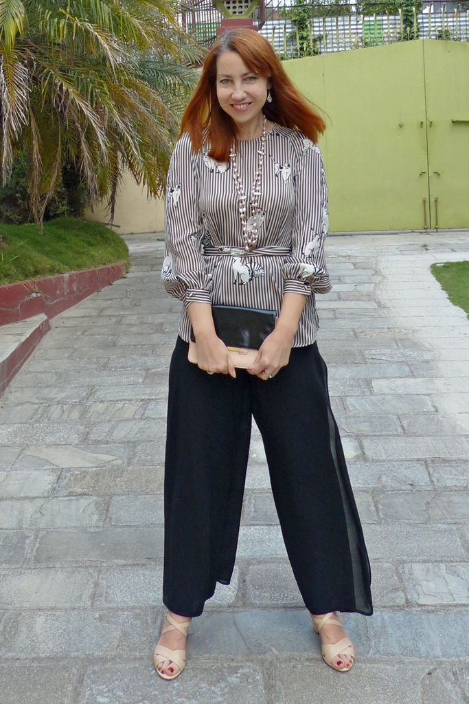 smart style look with cat print blouse and chiffon palazzo pants
