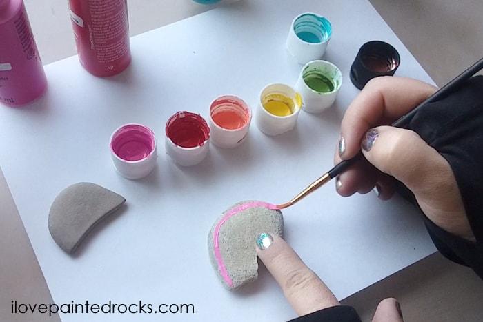 rainbow rock painting craft