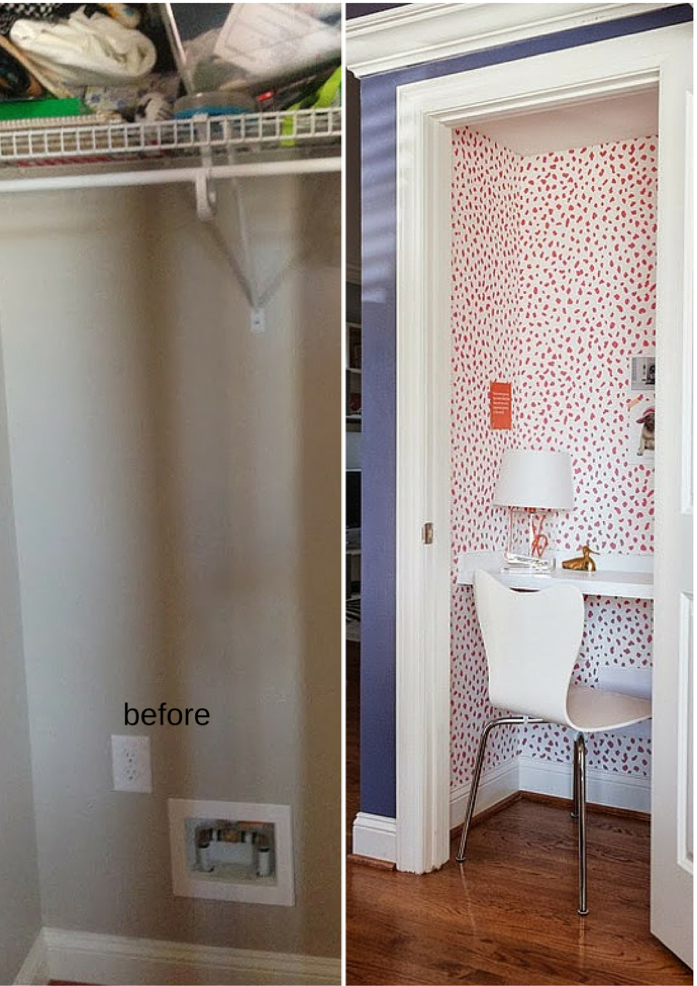 before and after of office makeover-design addict mom