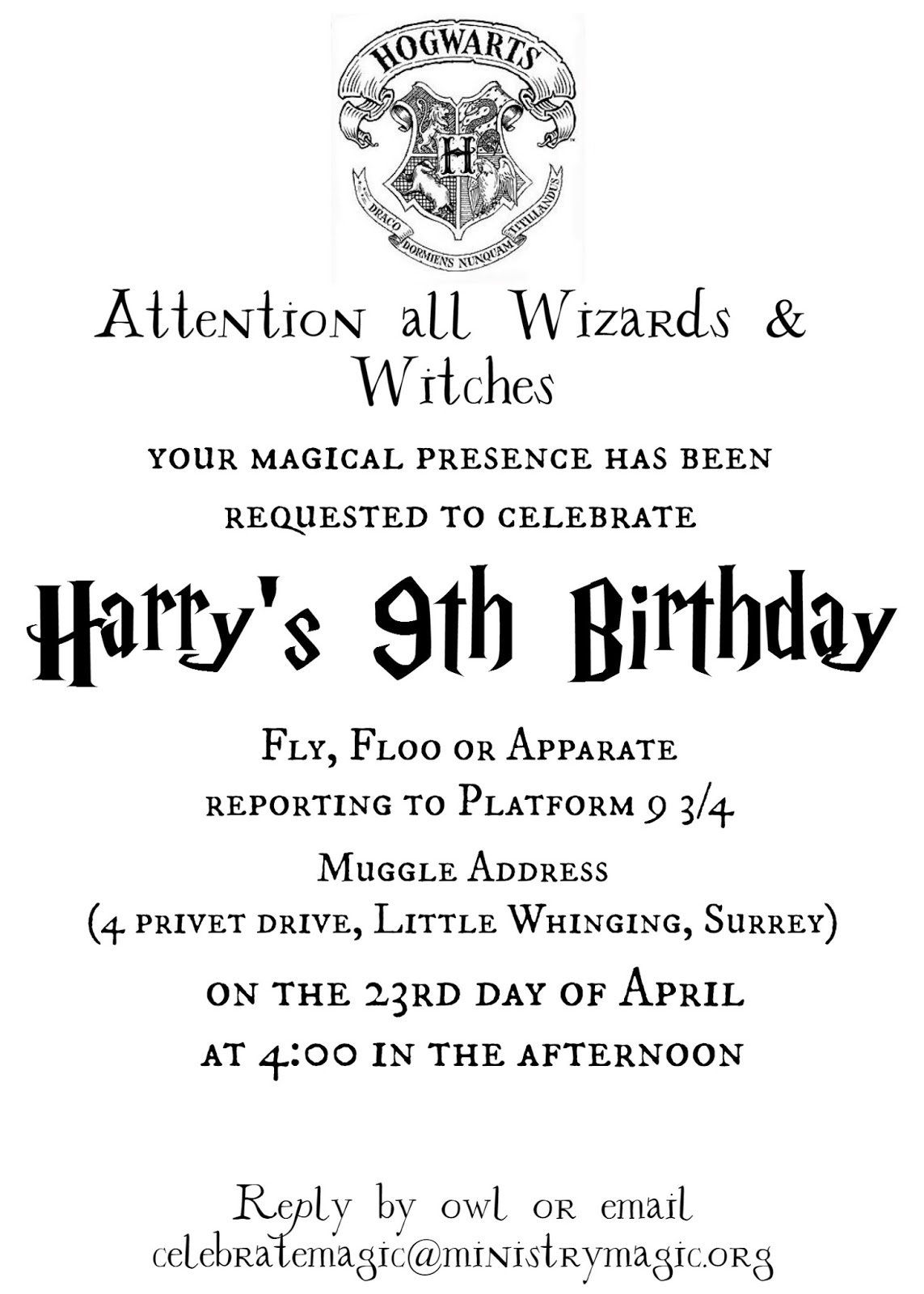 image regarding Free Printable Harry Potter Invitations known as Stacks and Apartments and All the Very Variables: Harry
