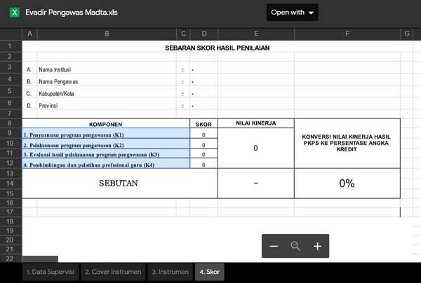 Format Evadir Pengawas Madya Microsoft Excel