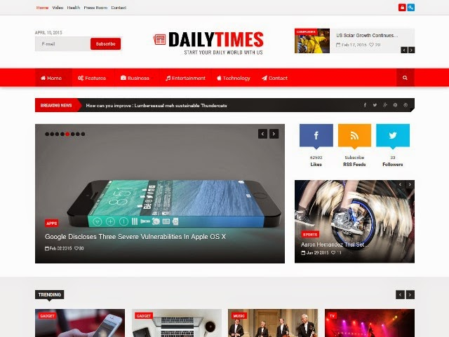 DailyTimes News and Magazine Joomla Template