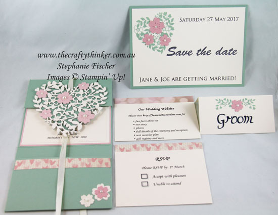 Wedding invitation suite, Bloomin Heart, #thecraftythinker, Stampin Up Australia Demonstrtor, Stephanie Fischer, Sydney NSW
