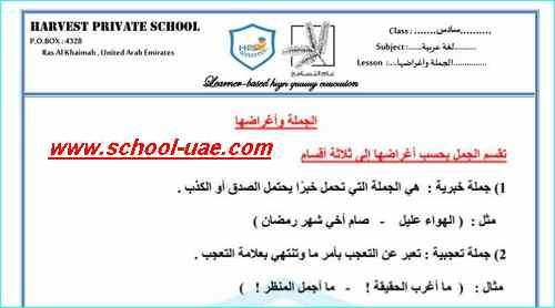 اوراق عمل درس الجملة واغراضها لغة عربية للصف السادس الفصل الاول2020