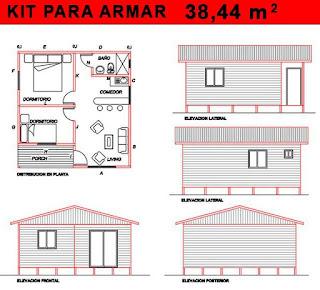 vivienda prefabricada azocar plano 38,44 mts2
