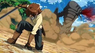 Tatsumi - bohater Akame Ga Kill! w akcji, zabija potwora