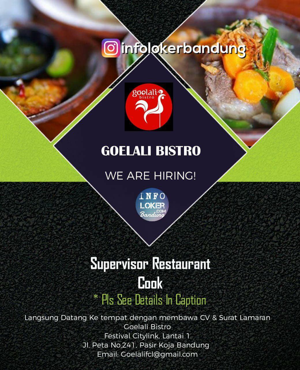 Lowongan Kerja Goelali Bistro Bandung Agustus 2018