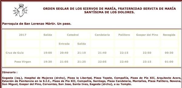 Programa, Horario e Itinerario Semana Santa Cádiz 2017