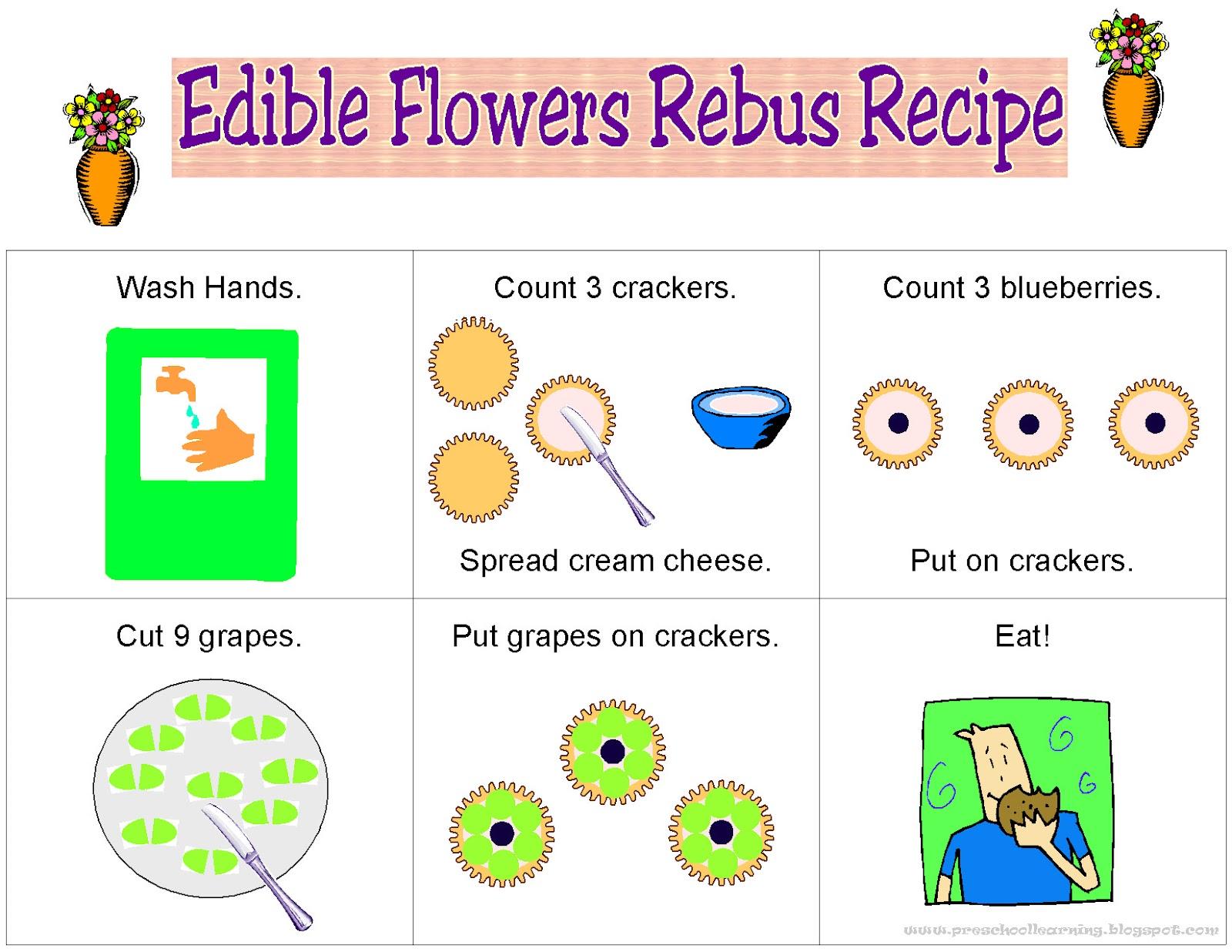 Play N Learn Edible Flowers Rebus Recipe