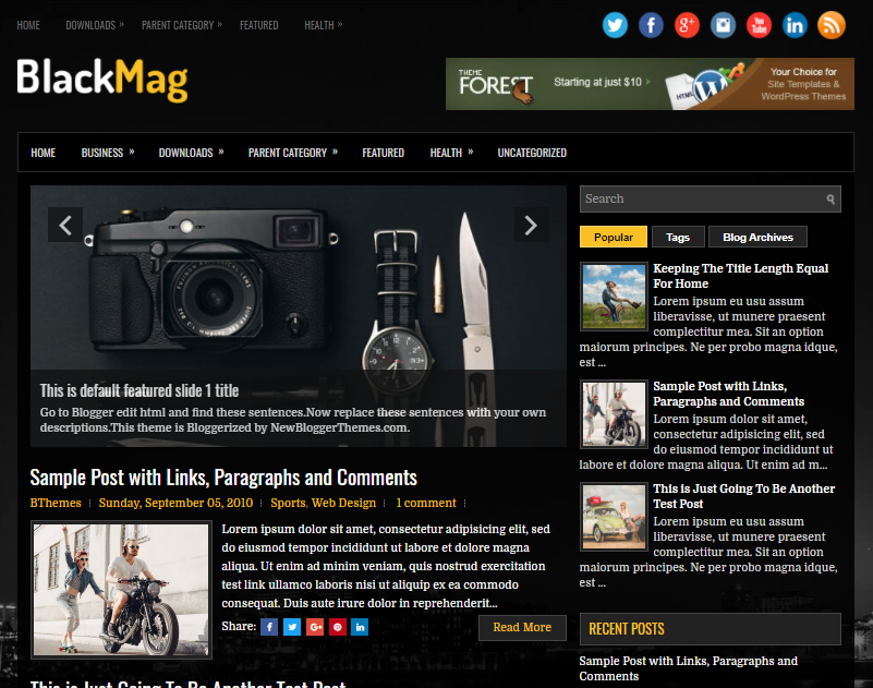 columns blogger topic amongst a correct sidebar as well as  Free Download BlackMag Blogger template