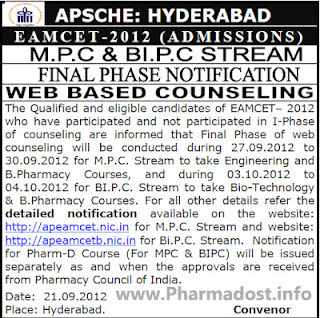 B.Pharmacy Eamcet 2012 Counseling Notification