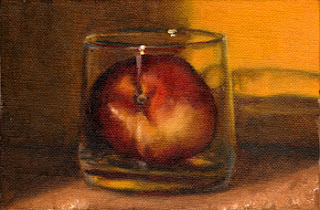 Oil painting of a nectarine in an Old Fashioned glass with a yellow background.