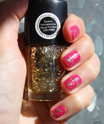 vernis à ongles E L F  Gold Star et  rose fuschia de The new black