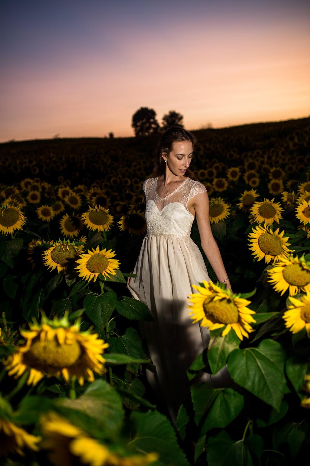 Morgan Pashen | Morgan ma Belle wedding dress in sunflower field