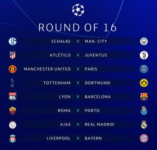 Hasil Undian Babak 16 Besar Liga Champions 2018-2019