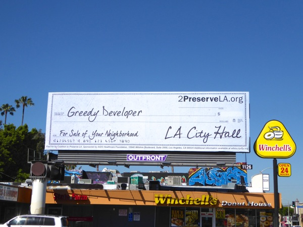 Greedy developer check 2 Preserve LA billboard