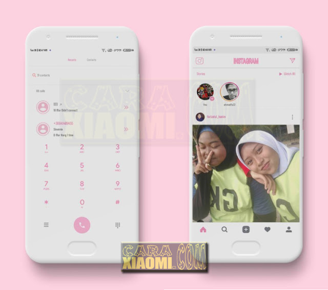 Download Tema Xiaomi Pink Flat Reborn Themes For MIUIV9