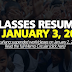 Classes Resume in January 3, 2019